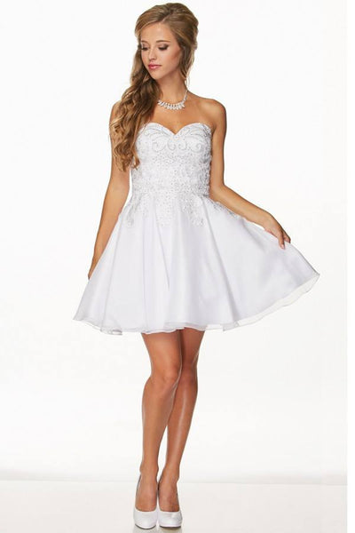Strapless Sweetheart Cocktail Wedding dress 105-772 white Prom dress Wedding Dress - Simply Fab Dress