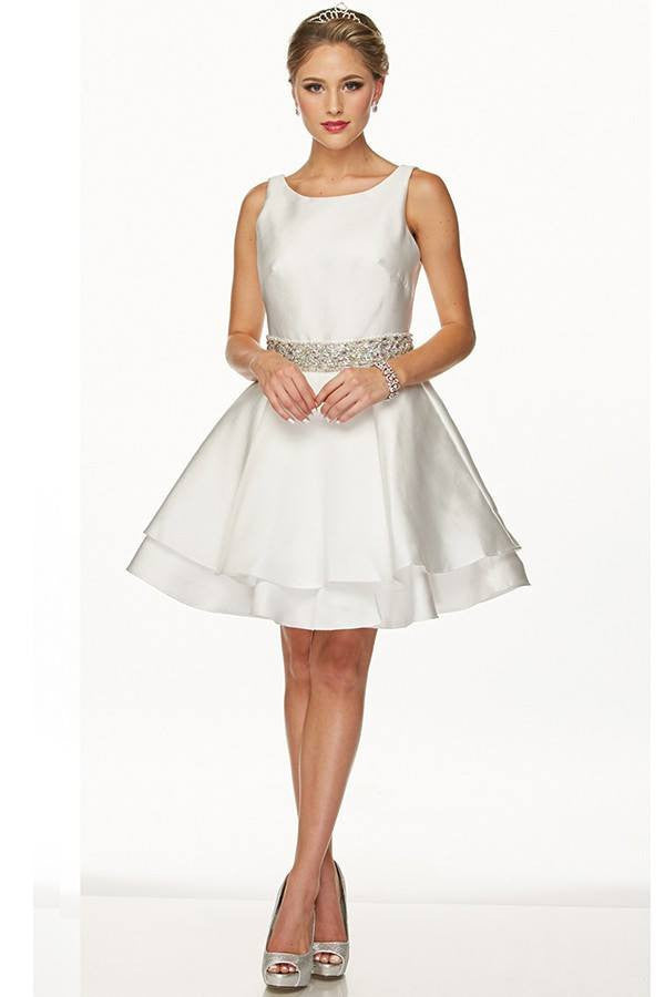 Satin Short Cocktail Beach Wedding Dress 105-773w - Simply Fab Dress