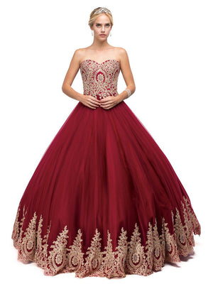 Red Burgundy Quinceanera Dress DQ 1115-Simply Fab Dress