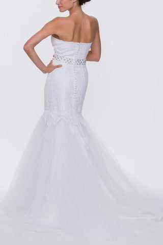Strapless lace mermaid wedding dress jul#1195w - Simply Fab Dress
