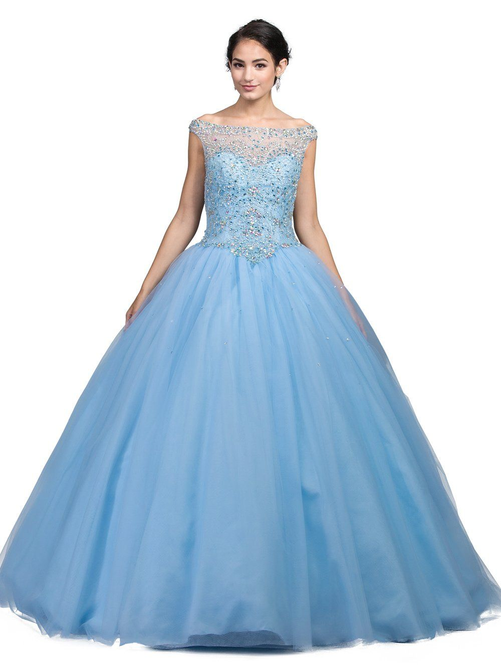 Off the shoulder blue quince dress Dq 1246-Simply Fab Dress