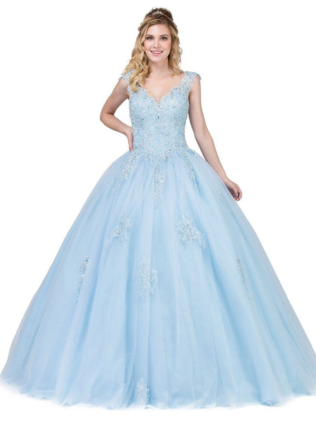 19b8a36834 Puffy Blue Quinceanera Dress Dq1287 – Simply Fab Dress