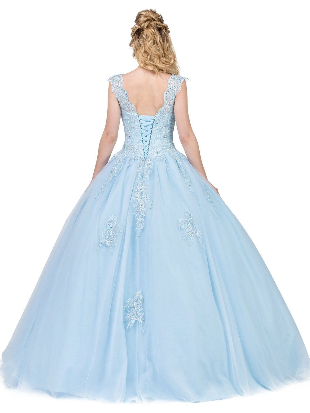 Puffy Blue Quinceanera Dress Dq1287-Simply Fab Dress