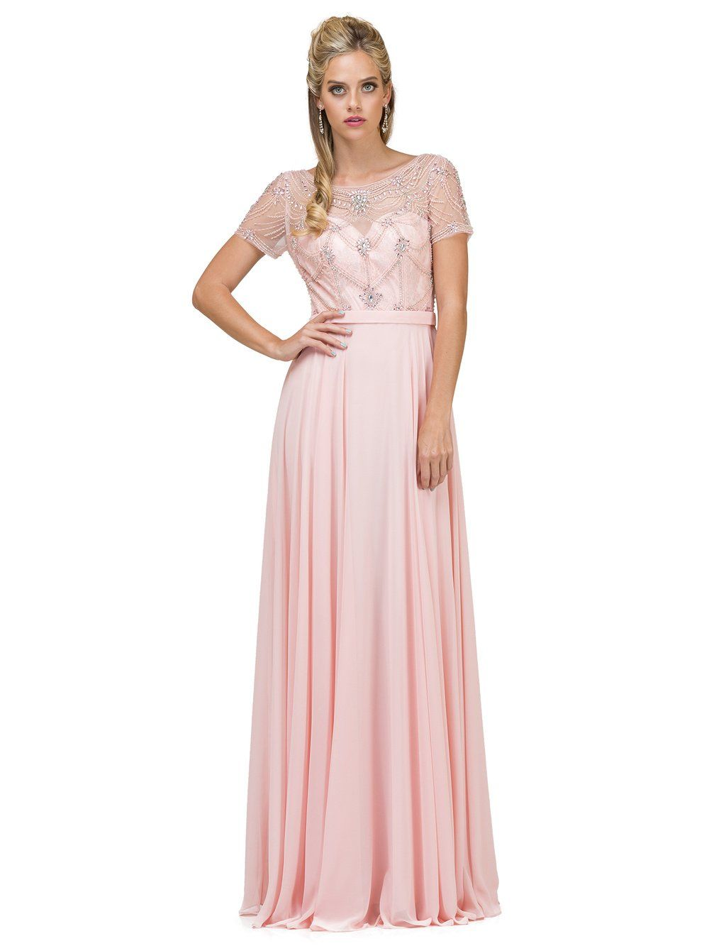 Plus Size Evening Gown With Sleeves Dq2067 Simply Fab Dress