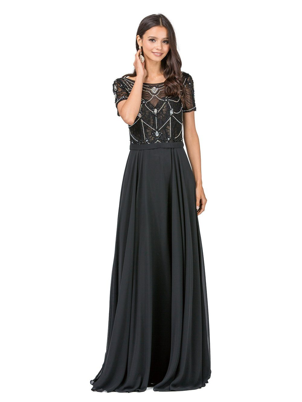 Plus size evening gown with sleeves DQ2067 – Simply Fab Dress