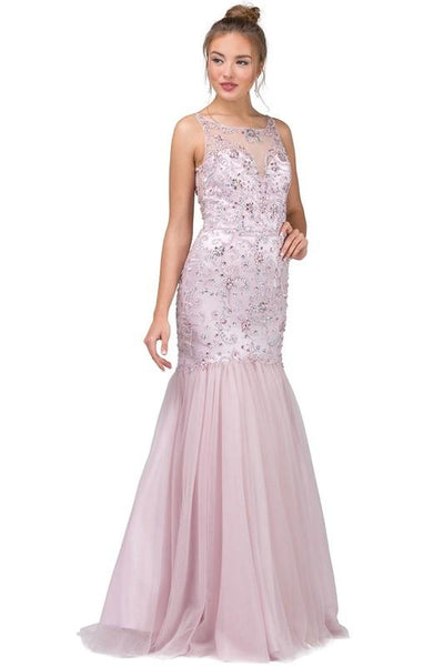 Stunning blush pink mermaid dress dq2250 - CLOSEOUT