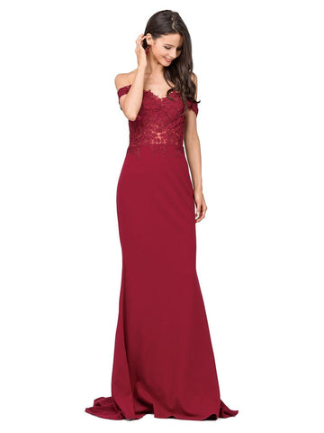 Off the shoulder lace formal dress DQ2274