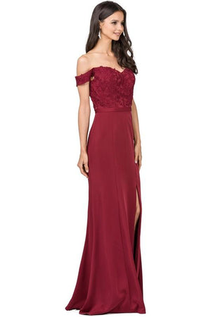 Long off the shoulders prom dress with slit  DQ2346