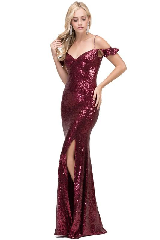 Off the shoulders sequins prom dress with slit DQ2398 – Simply Fab Dress