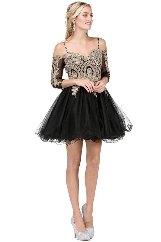 Long sleeve short prom dress DQ3001-Simply Fab Dress