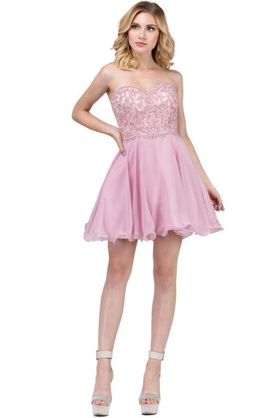 Strapless short homecoming dress Dq3005-Simply Fab Dress