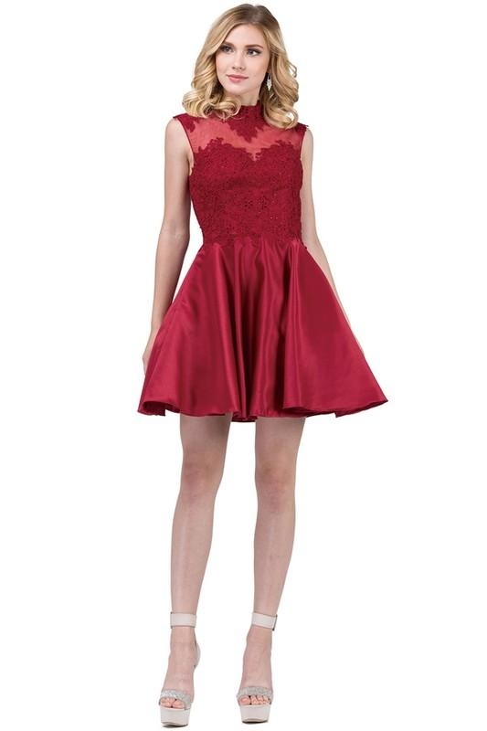 Short satin homecoming dress Dq3069-Simply Fab Dress