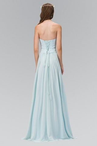 Strapless Long chiffon Cheap Bridesmaid Dress 103-gl2076 - Simply Fab Dress