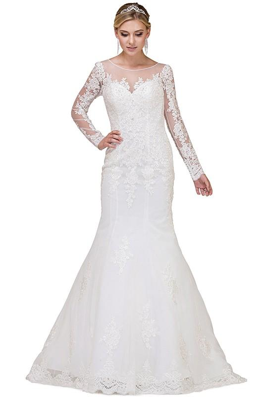 Long sleeve lace plus size mermaid wedding dress #dq0012 – Simply ...