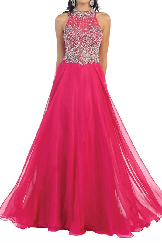 High Neck prom dress with 100-RQ7186 – Simply Fab Dress