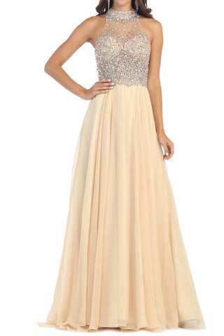 Sexy beaded sheer bust prom dress with high Neckline 100-RQ7186 Evening dress - Simply Fab Dress