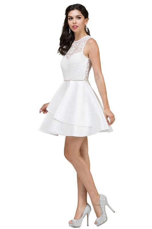 Lace top short white cocktail dress DQ2011 – Simply Fab Dress