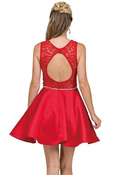Beautiful lace top short satin cocktail dress DQ2011 - Simply Fab Dress