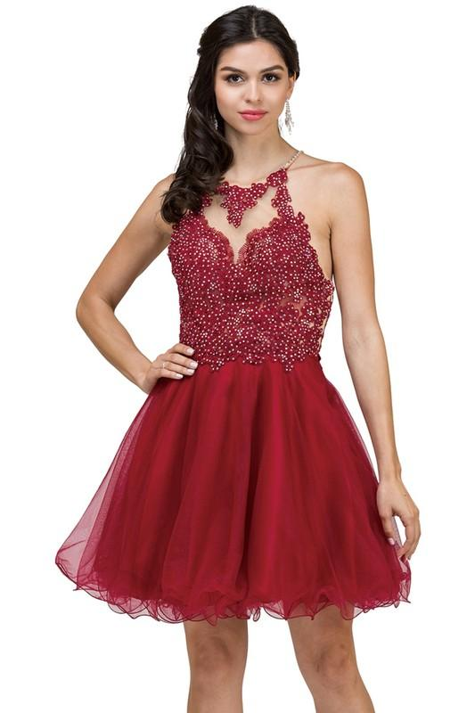 Sexy high neck short prom dress dq2016-Simply Fab Dress