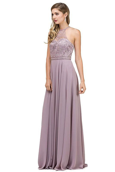 Halter neck long chiffon dress Dq2092