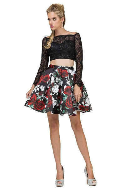 Short 2 piece homecoming prom dress dq2095 - CLOSEOUT-Simply Fab Dress