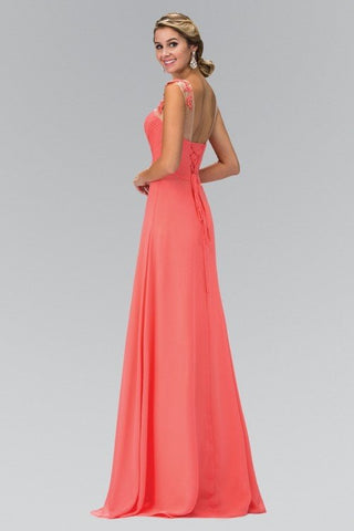 Ruched Bodice Long chiffon Bridesmaid dress 103-gl1332/ - Simply Fab Dress