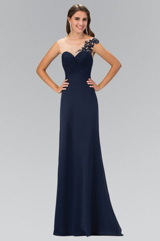 Sheer neckline Long chiffon Bridesmaid dress 103-gl1332/ - Simply Fab Dress