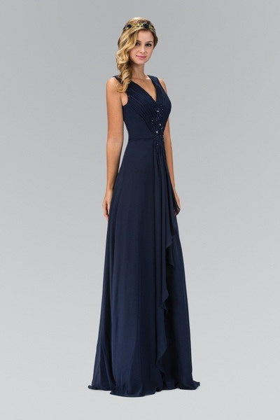 Sleeve v cut long chiffon cheap bridesmaid dress 103-gl1378 - Simply Fab Dress