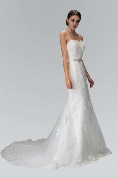 Affordable strapless lace wedding dress - Simply Fab Dress