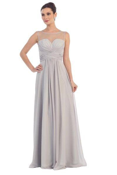 Sheer illusion neckline ruched bodice long chiffon dress 100-mq1266 Prom dress Bridesmaid dress - Simply Fab Dress