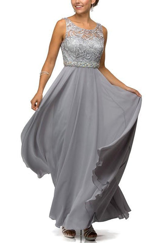 Elegant Long lace top bridesmaid dress DQ9325-Simply Fab Dress