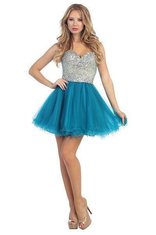 Rhinestone Top Cocktail Homecoming 2016 105-5627 - Simply Fab Dress