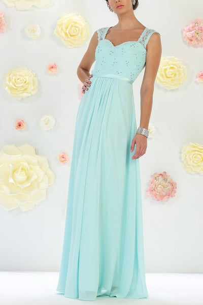 Lace bodice long chiffon cheap bridesmaid dress #mq1287 - Simply Fab Dress
