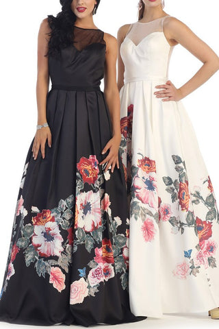 Trendy floral print a-line prom dress #RQ7399 - Simply Fab Dress