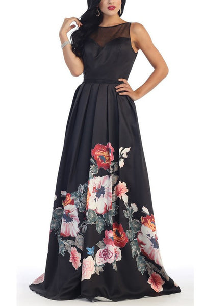 6ece3bc3e45 Trendy floral print a-line prom dress  RQ7399 - CLOSEOUT – Simply ...