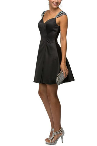 Cap sleeve sweetheart neckline short inexpensive homecoming dress  DQ9476 - Simply Fab Dress
