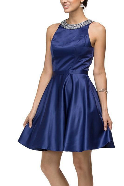 Vintage style short satin  homecoming dress DQ9463 - Simply Fab Dress