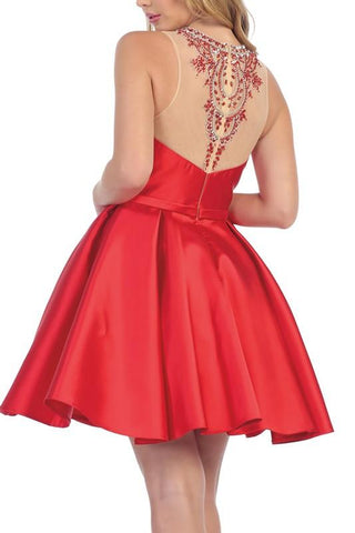 Short Satin Cocktail Dress & Homecoming Dress let's 6021 - Simply Fab Dress