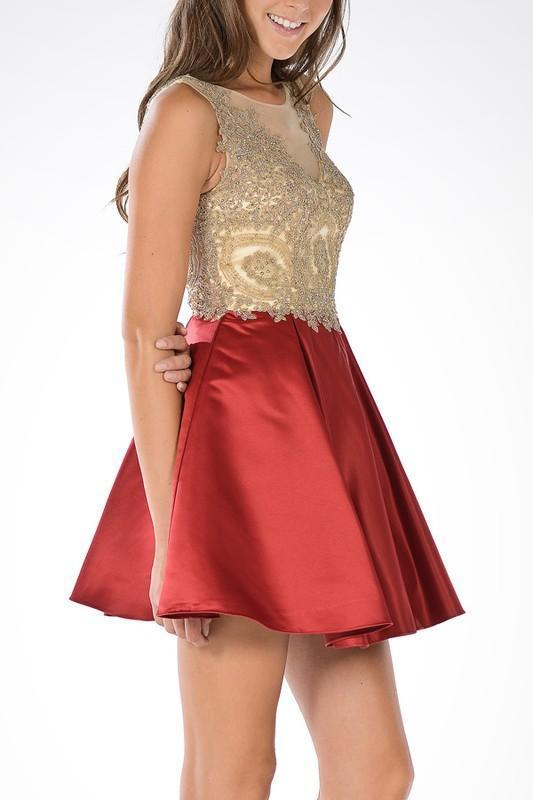 Dazzling gold embroidered bodice homecoming dress - Simply Fab Dress