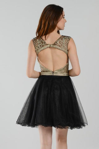 Dazzling beaded black short homecoming dress with tulle skirt  poly 7540 -  Simply Fab Dress 2ff8836cc