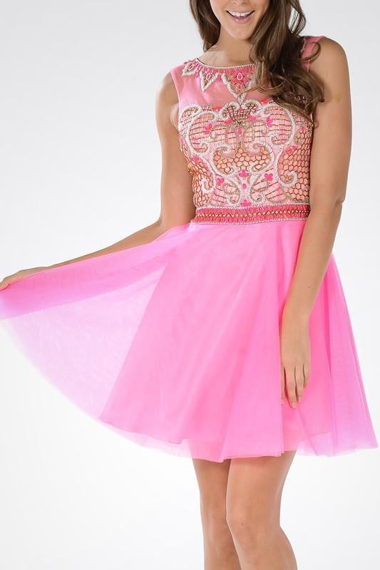 Detailed Applique Sheer Back Homecoming 2016 Cocktail Dress 101-097 ...