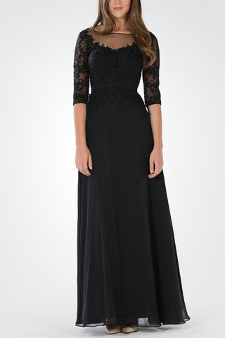Long sleeve chiffon evening dress pol#7598 - Simply Fab Dress