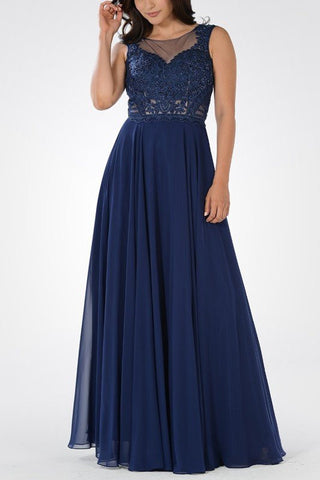 Beaded bodice Long chiffon Bridesmaid dress BB 097-604 - Simply Fab Dress