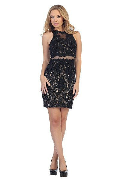 Lace Short cocktail dress 107-6017 - Simply Fab Dress