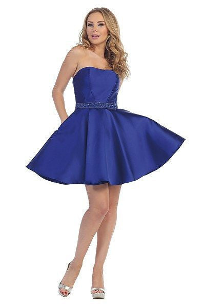Sexy strapless homecoming dress with trendy side pockets LT-6018 - Simply Fab Dress