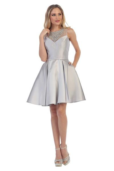 High neckline satin cocktail homecoming 2016 dress 107-6021 - Simply Fab Dress