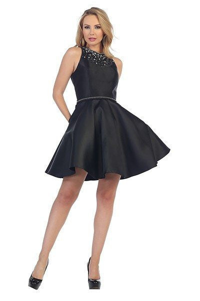 High Neck Satin Cocktail Homecoming 2016 dress 107-6022 - Simply Fab Dress