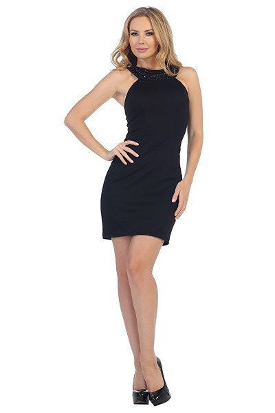Halter Top Black Short Homecoming 2016 dress 107-6023 - Simply Fab Dress