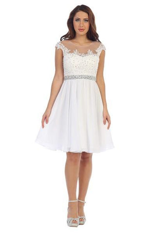 sheer cap sleeve lace top short homecoming dress lets#6027 - Simply Fab Dress