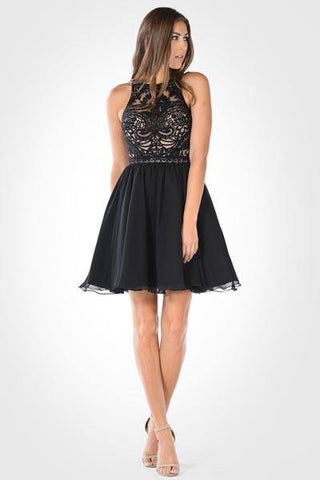 Beautiful halter top cocktail dress 101-7794 Black - Simply Fab Dress